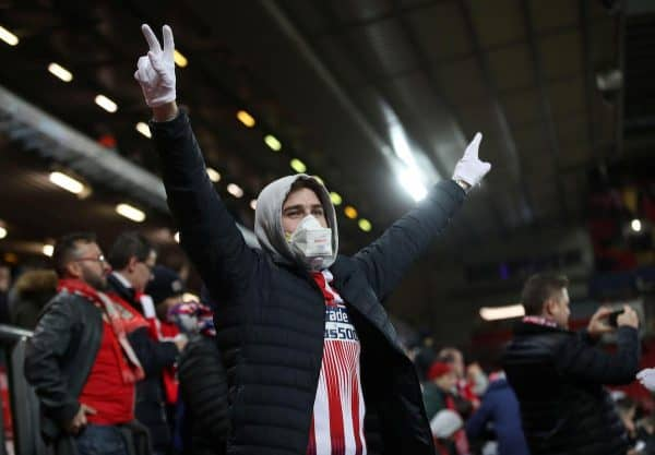 Liverpool v Atletico Madrid - Anfield, - March 11, 2020 Atletico Madrid fan wearing a face mask inside the stadium before the match as the number of coronavirus cases grow around the world Action Images via Reuters/Carl Recine