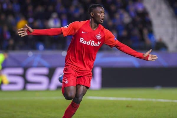 Salzburg's Patson Daka celebrates after scoring during the game between Belgian soccer team KRC Genk and Austrian club RB Salzburg, Wednesday 27 November 2019 in Genk, on the fifth day of the group stage of the UEFA Champions League, in the group E. BELGA