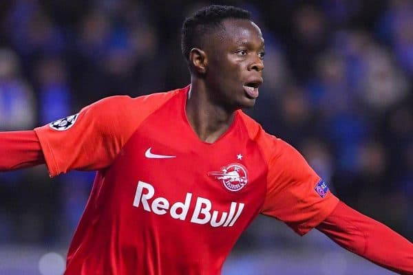 2EPBJB7 Salzburg's Patson Daka celebrates after scoring during the game between Belgian soccer team KRC Genk and Austrian club RB Salzburg, Wednesday 27 November 2019 in Genk, on the fifth day of the group stage of the UEFA Champions League, in the group E. BELGA PHOTO LAURIE DIEFFEMBACQ/SIPA USA