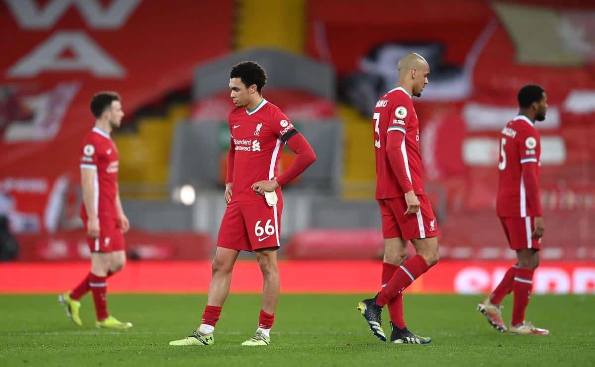 2EXGGE6 Liverpool's Trent Alexander-Arnold (centre) and his team-mates appear dejected after the Premier League match at Anfield, Liverpool. Picture date: Thursday March 4, 2021.