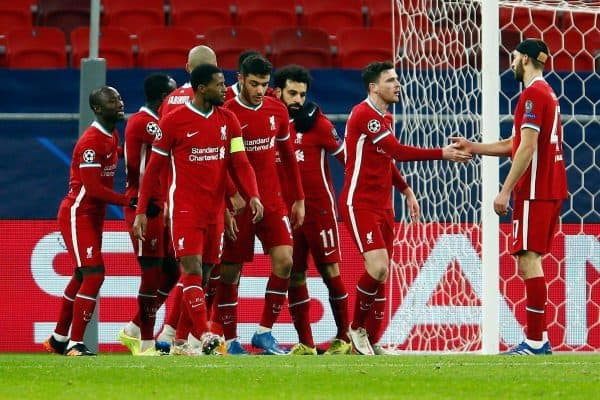 2F26NR0 Liverpool players celebrates the opening goal scored by Mohamed Salah during the UEFA Champions League round of sixteen, second leg match at the Puskas Arena, Budapest. Picture date: Wednesday March 10, 2021.