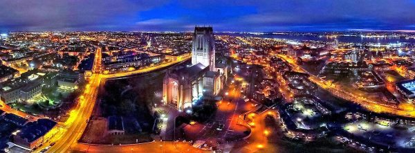 A panoramic aerial view over Liverpool Cathedral.