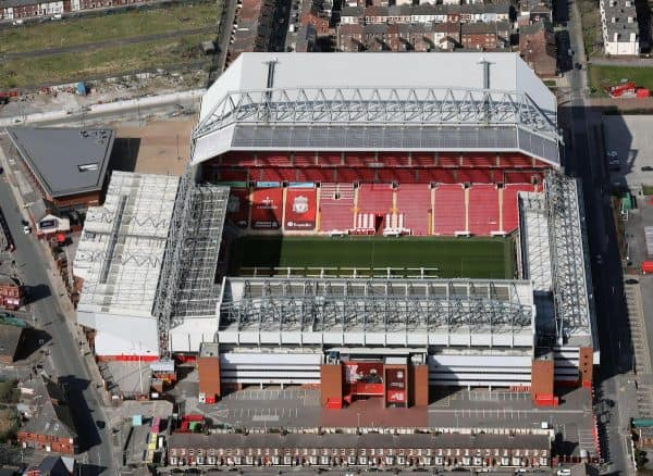 Anfield stadium, Liverpool, aerial view (General image)