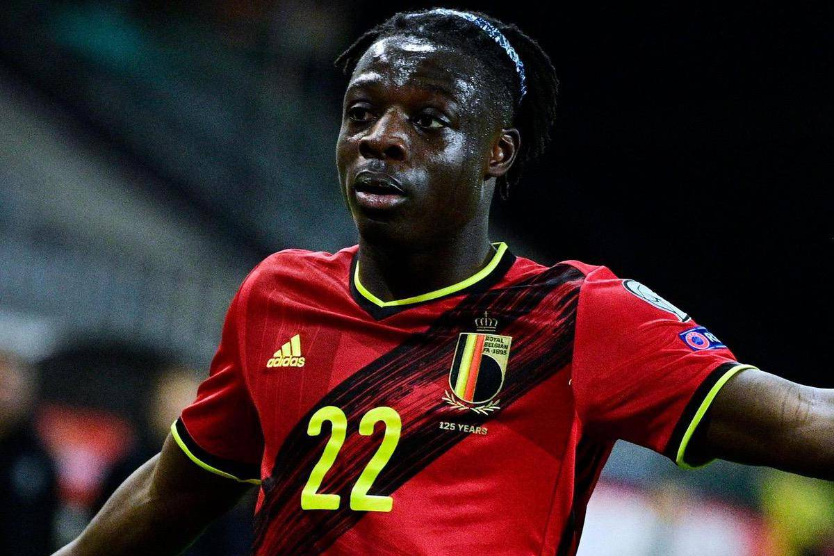 2F68684 Belgium's Jeremy Doku reacts during a qualification game for the World Cup 2022 in the group E between the Belgian national team Red Devils and Belaru