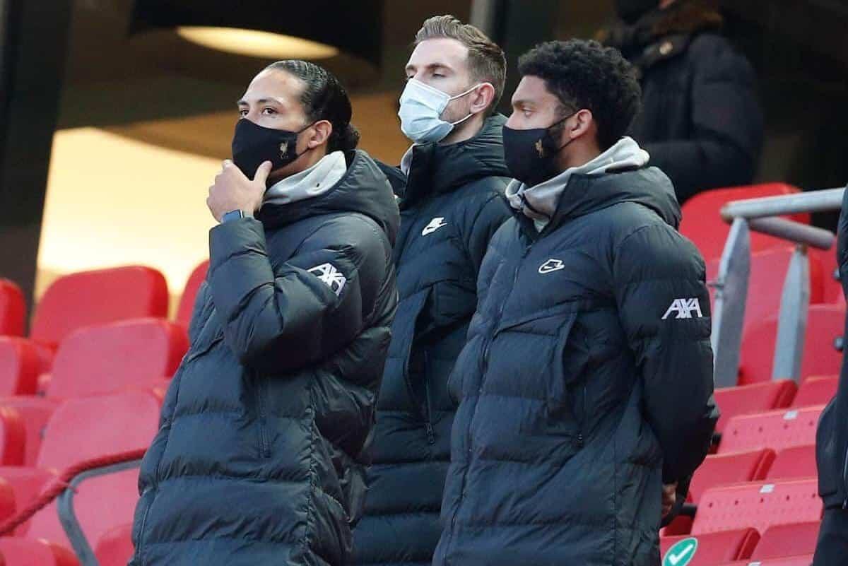 Injured players, Van Dijk, Henderson, Gomez (Image: Darren Staples / Sportimage)