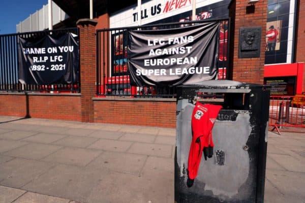 European Super League protest, Anfield (PA Images / Alamy Stock Photo)