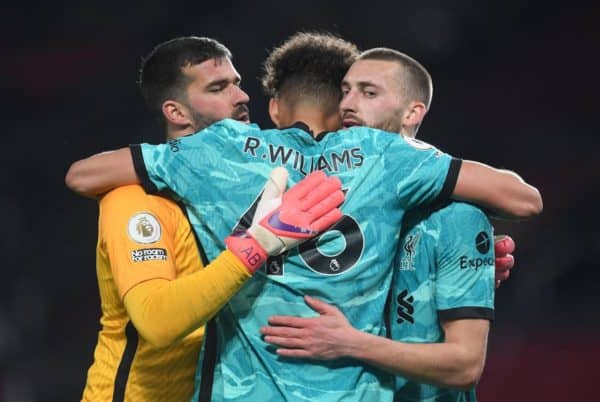 Liverpool goalkeeper Alisson (left), Rhys Williams (centre) and Nathaniel Phillips celebrate after the Premier League match at Old Trafford, Manchester. Picture date: Thursday May 13, 2021.