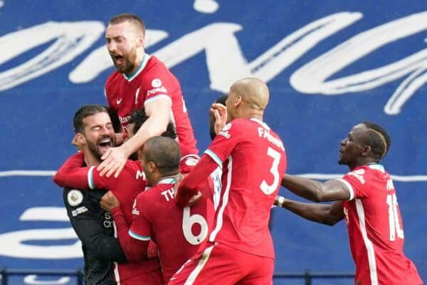 2FND1NB Liverpool goalkeeper Alisson celebrates with teammates after scoring his sides second goal during the Premier League match at The Hawthorns, West Bromwich. Picture date: Sunday May 16, 2021.
