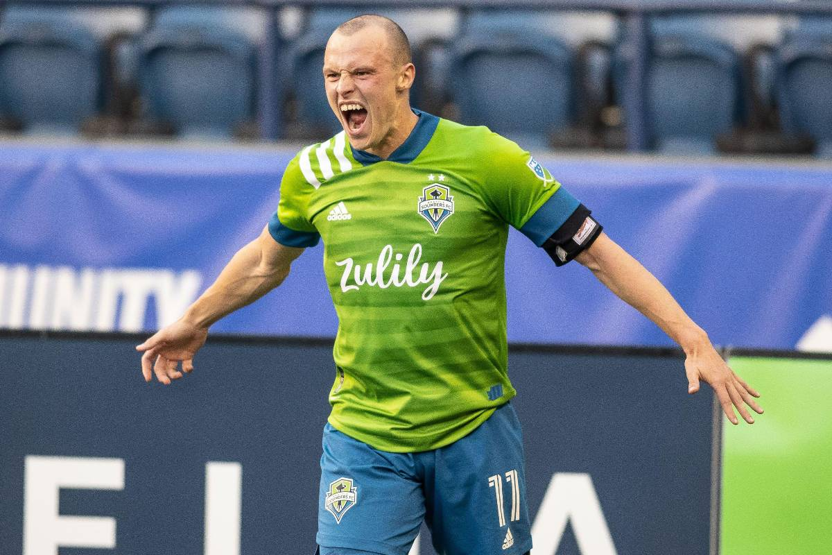 2FNH4EX Seattle Sounders defender Brad Smith (11) reacts to scoring a goal during the second half of an MLS match against LAFC at Lumen Field, Tuesday, May 16, 2021, in Seattle Washington. Sounders FC defeat LAFC 2-0. (Matt Ferris/Image of Sport/Sipa USA )