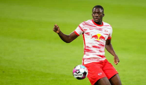 2FNM4TW Leipzig, Germany. 16th May, 2021. Football: Bundesliga, Matchday 33, RB Leipzig - VfL Wolfsburg at Red Bull Arena Leipzig. Leipzig defender Ibrahima Konate on the ball. Credit: Jan Woitas/dpa-Zentralbild/dpa - IMPORTANT NOTE: In accordance with the regulations of the DFL Deutsche FuBball Liga and/or the DFB Deutscher FuBball-Bund, it is prohibited to use or have used photographs taken in the stadium and/or of the match in the form of sequence pictures and/or video-like photo series./dpa/Alamy Live News