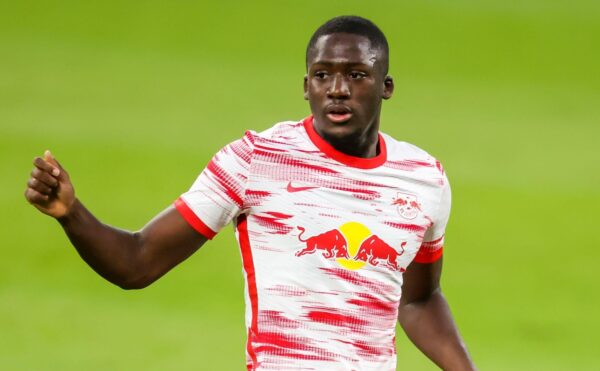 Leipzig, Germany. 16th May, 2021. Football: Bundesliga, Matchday 33, RB Leipzig - VfL Wolfsburg at Red Bull Arena Leipzig. Leipzig defender Ibrahima Konate on the ball. Credit: Jan Woitas/dpa-Zentralbild/dpa - IMPORTANT NOTE: In accordance with the regulations of the DFL Deutsche FuBball Liga and/or the DFB Deutscher FuBball-Bund, it is prohibited to use or have used photographs taken in the stadium and/or of the match in the form of sequence pictures and/or video-like photo series./dpa/Alamy Live News