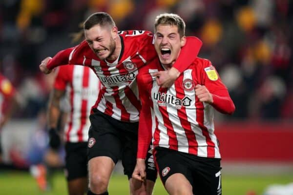 File photo dated 05-12-2020 of Brentford's Henrik Dalsgaard (left) and Sergi Canos. Issue date: Thursday May 27, 2021.