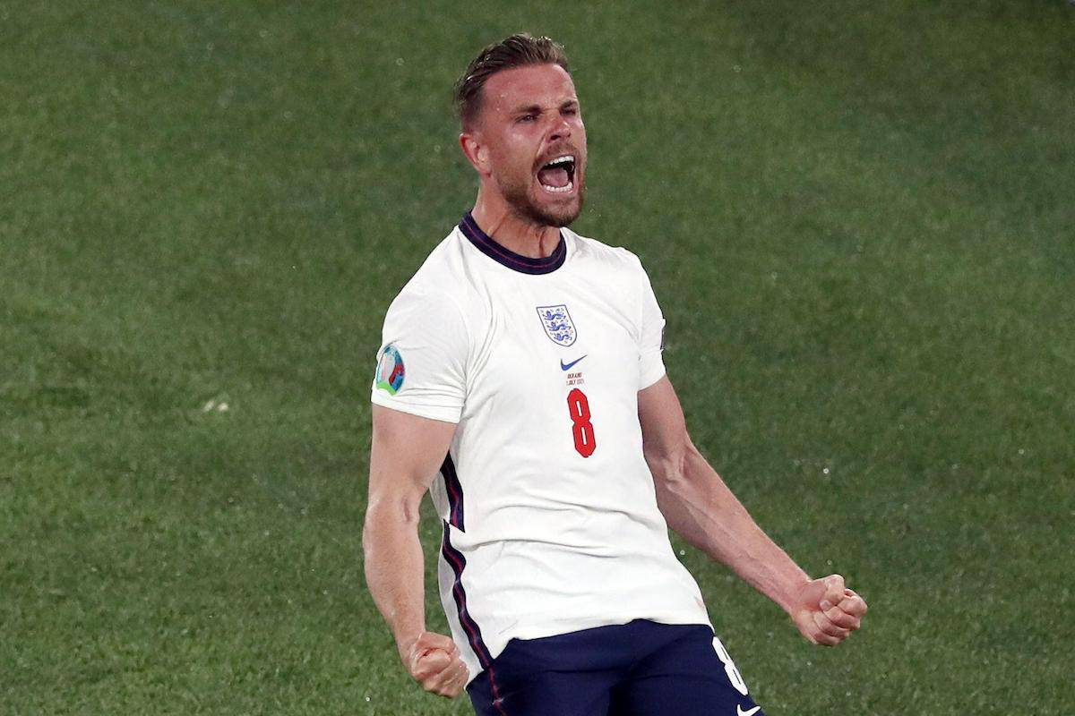 Jordan Henderson of England celebrates scoring their fourth goal during the UEFA Euro 2020 Quarter Final match at the Stadio Olimpico, Rome. Picture credit should read: Jonathan Moscrop / Sportimage