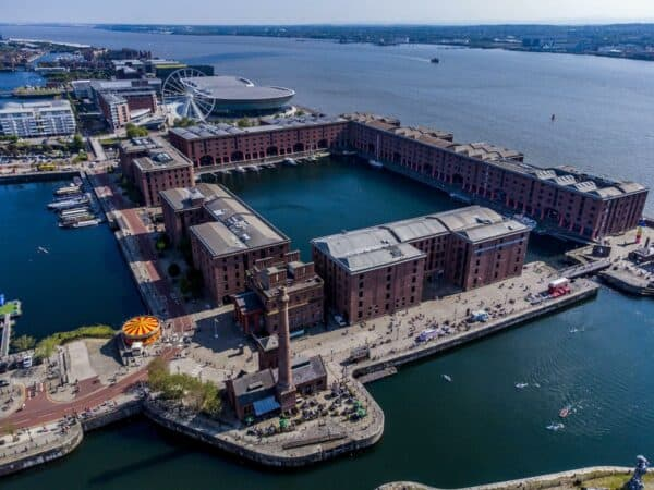 Aerial view of The Royal Albert Dock in Liverpool