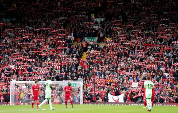 Fans in The Kop Stand during the Pre-Season Friendly match at Anfield, Liverpool. (PA / Alamy)