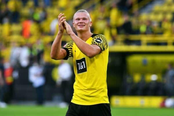 Dortmund's Erling Haaland celebrates after the match.