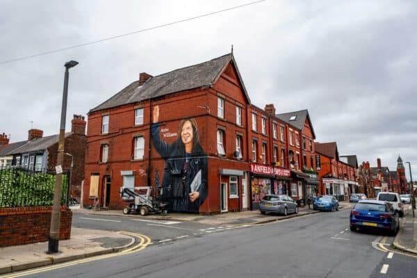 Mural of Anne Williams, the mother of Hillsborough victim Kevin Williams, on a building in the Anfield area of Liverpool. (Image: Peter Byrne / Alamy)