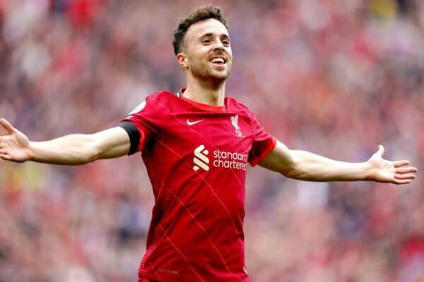 Liverpool's Diogo Jota celebrates scoring their side's first goal of the game during the Premier League match at Anfield, Liverpool. Picture date: Saturday August 21, 2021.