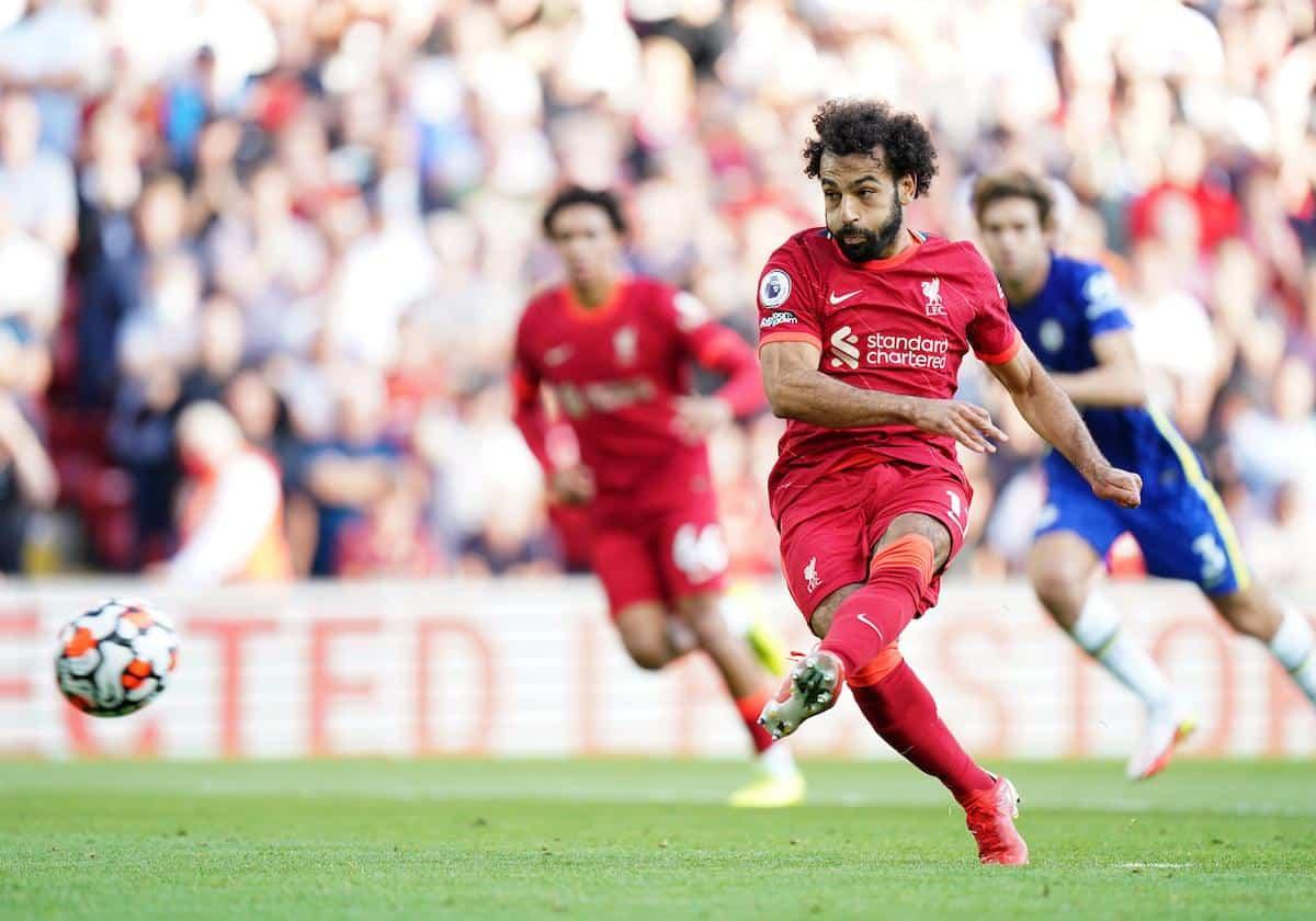 Mohamed Salah scores from the penalty spot vs Chelsea (Image: Mike Egerton / Alamy)