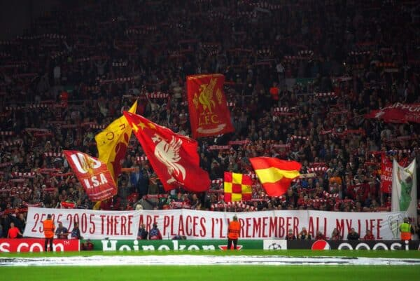 Liverpool fans in the stands show their support before the UEFA Champions League, Group B match at Anfield, Liverpool. Picture date: Wednesday September 15, 2021.