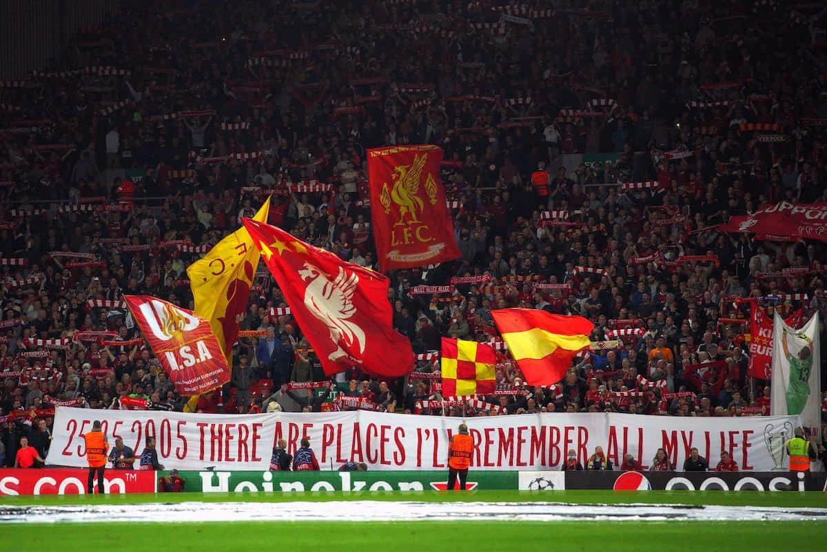 The Kop, Anfield, Istanbul banner, AC Milan, 2021 Champions League (Alamy Photo)