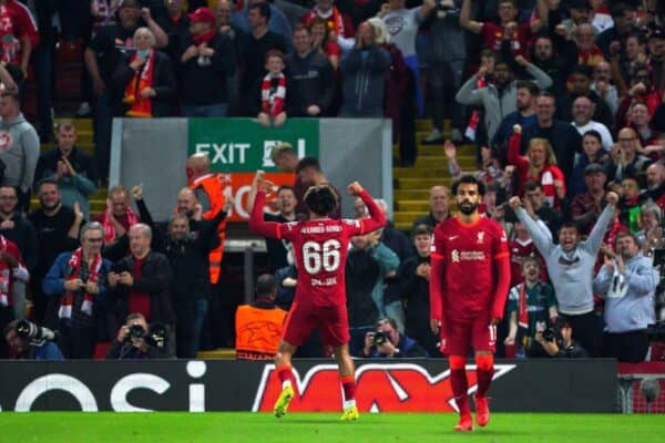 Liverpool's Trent Alexander-Arnold celebrates scoring their side's first goal of the game during the UEFA Champions League, Group B match at Anfield, Liverpool. Picture date: Wednesday September 15, 2021.