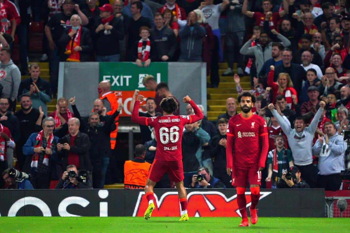 2GKXCMX Liverpool's Trent Alexander-Arnold celebrates scoring their side's first goal of the game during the UEFA Champions League, Group B match at Anfield, Liverpool. Picture date: Wednesday September 15, 2021.