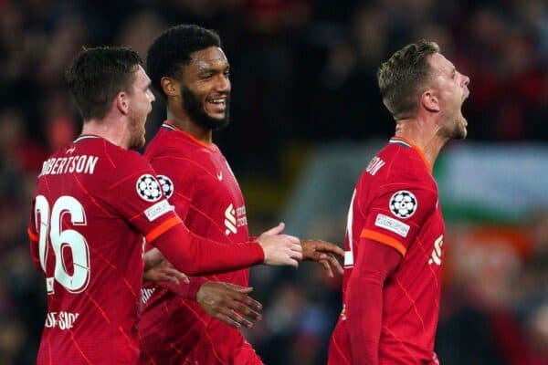 Jordan Henderson (right) celebrates vs. AC Milan (Gomez, Robertson) 2021 (Image: PA Images / Alamy Stock Photo)
