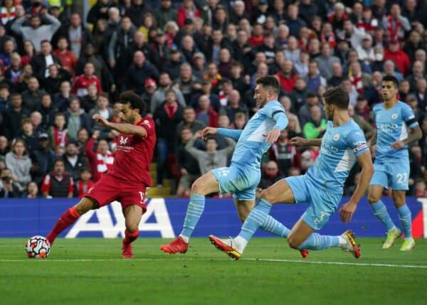 Mohamed Salah goal vs Man City, Anfield, 2021 (PA Images / Alamy Stock Photo)