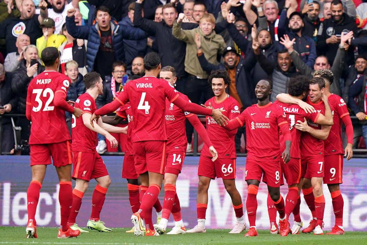 2H145N6 Liverpool's Roberto Firmino (right) celebrates scoring their side's third goal of the game during the Premier League match at Vicarage Road, Watford. Picture date: Saturday October 16, 2021.