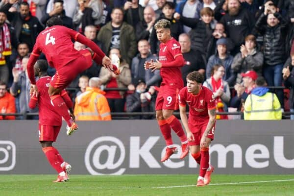 2H1485B Liverpool's Roberto Firmino (second right) celebrates scoring their side's fifth goal of the game during the Premier League match at Vicarage Road, Watford. Picture date: Saturday October 16, 2021.