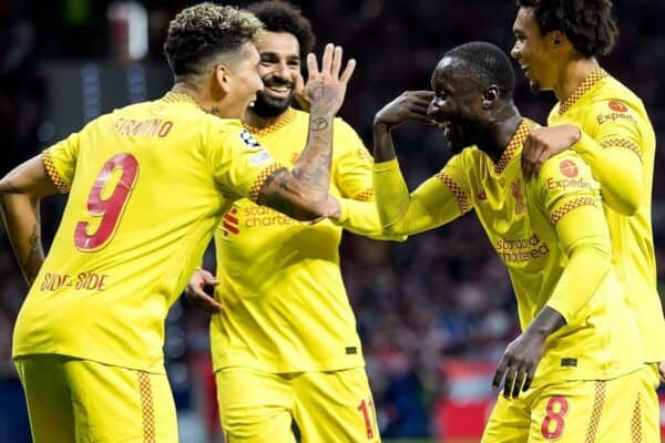 Madrid, Spain. 19th Oct, 2021.  Liverpool players celebrate a goal at the Uefa Champions League match between Atletico de Madrid CF and Liverpool FC at the Estadio Metropolitano Stadium in Madrid, Spain. Credit: Christian Bertrand/Alamy Live News