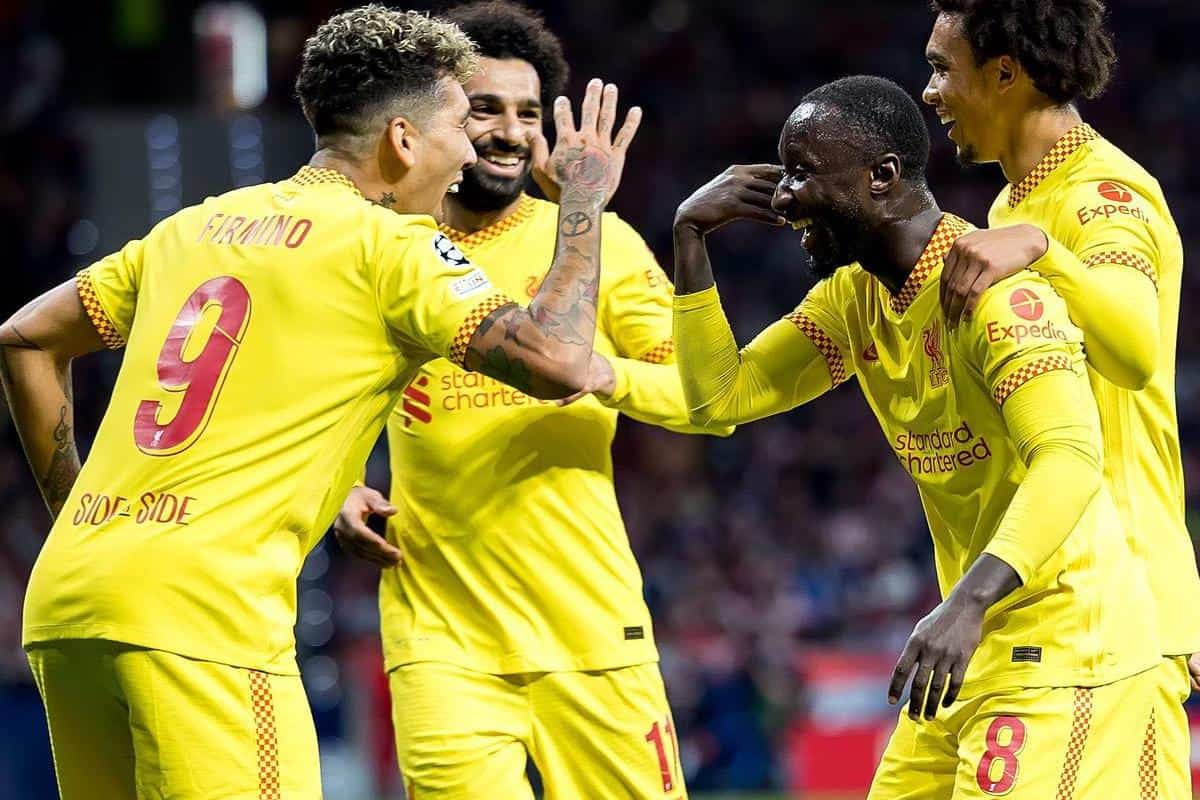 2H214X3 Madrid, Spain. 19th Oct, 2021. Liverpool players celebrate a goal at the Uefa Champions League match between Atletico de Madrid CF and Liverpool FC at the Estadio Metropolitano Stadium in Madrid, Spain. Credit: Christian Bertrand/Alamy Live News