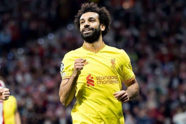 Madrid, Spain. 19th Oct, 2021.  Salah celebrates a goal at the Uefa Champions League match between Atletico de Madrid CF and Liverpool FC at the Estadio Metropolitano Stadium in Madrid, Spain. Credit: Christian Bertrand/Alamy Live News