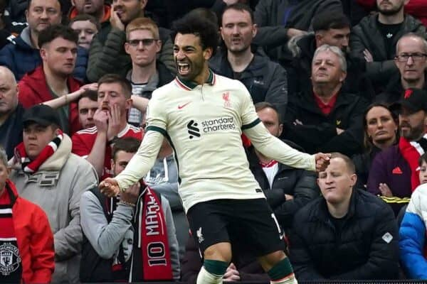 Liverpool's Mohamed Salah celebrates scoring their side's third goal of the game during the Premier League match at Old Trafford, Manchester. 2001 (PA Alamy image)
