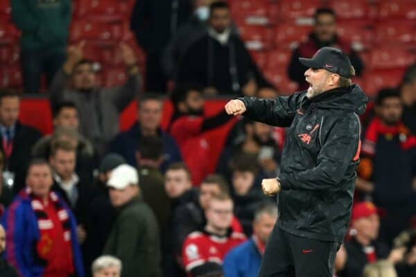 Liverpool manager Jurgen Klopp reacts after the final whistle during the Premier League match at Old Trafford, Manchester. Picture date: Sunday October 24, 2021.