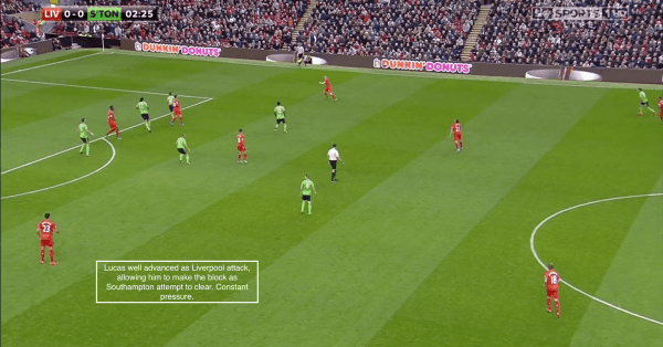 Lucas well advanced as Liverpool attack, allowing him to make the block as Southampton attempt to clear. Constant pressure.