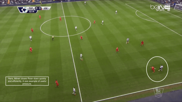 Here, Milner closes Rose down quickly and efficiently. A rare example of useful pressure.