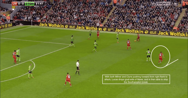 With both Milner and Clyne pushing forward from right flank to attack, Lucas drops goal-side of Mane, and is then able to stop the Southampton break.