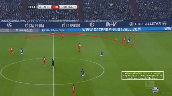 32' - Matip long pass, chance vs. Stuttgart