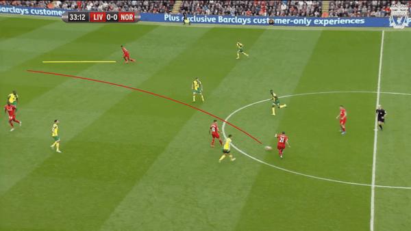 34 mins, Sturridge vs. Norwich - Movement onto Lucas pass
