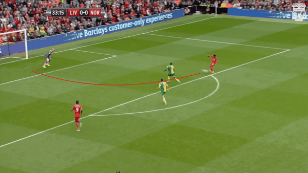 34 mins, Sturridge vs. Norwich - Shot, too early
