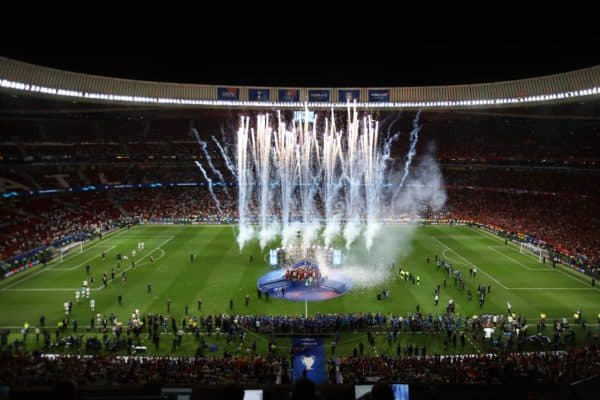 MADRID, SPAIN - JUNE 01: General view inside the stadium as Jordan Henderson of Liverpool lifts the Champions League Trophy after winning the UEFA Champions League Final between Tottenham Hotspur and Liverpool at Estadio Wanda Metropolitano on June 01, 2019 in Madrid, Spain. (Photo by Matthew Lewis - UEFA/UEFA via Getty Images)