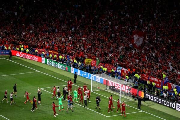 MADRID, SPAIN - JUNE 01: Liverpool players celebrate towards the fans following the UEFA Champions League Final between Tottenham Hotspur and Liverpool at Estadio Wanda Metropolitano on June 01, 2019 in Madrid, Spain. (Photo by Matthew Lewis - UEFA/UEFA via Getty Images)