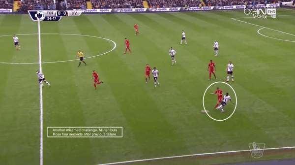 Another mistimed challenge. Milner fouls Rose four seconds after previous failure.