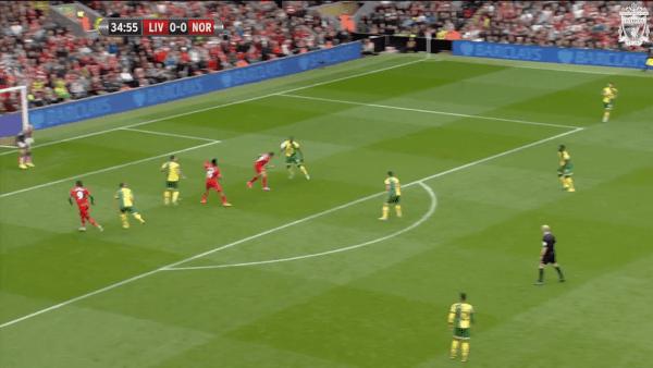 35 mins, Sturridge vs. Norwich - Three attackers in the box!