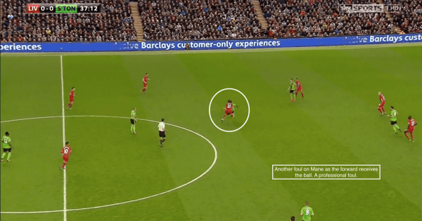 Another foul on Mane as the forward receives the ball. A professional foul!