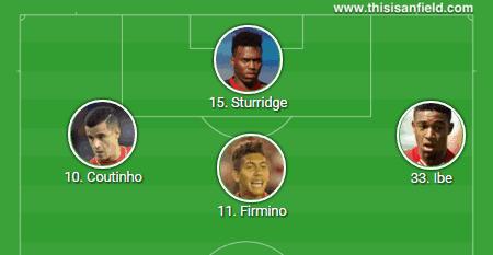 4-2-3-1 Ibe Firmino Coutinho Sturridge