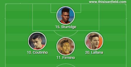 4-2-3-1 Lallana Firmino Coutinho Sturridge