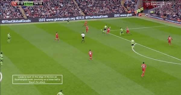 Lucas is back on the edge of the box as Southampton build, pouncing on a loose ball to thwart the attack.